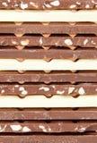 Chocolate bar assortment Stock Photos