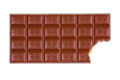 Chocolate bar with bite. Bitten chocolate bar isolated on white Stock Image