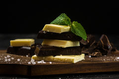Chocolate bar. Black and white chocolate Royalty Free Stock Photo