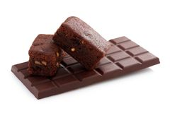 Chocolate bar and Brownie Royalty Free Stock Images