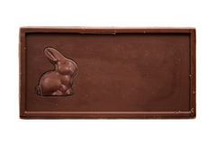 Chocolate bar with bunny - top view stock images
