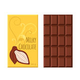 Chocolate bar. Cacao label package. Sweet milky product. Flat style. Royalty Free Stock Photography
