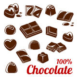 Chocolate bar and candy icon set for food design Stock Photos