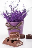 Chocolate bar close-up Royalty Free Stock Images