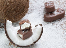 Chocolate bar with coconut filling Stock Images
