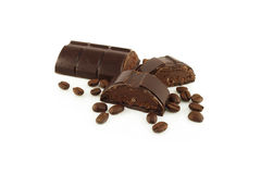 Chocolate bar and coffee beans Stock Photography