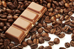 Chocolate bar on coffee beans Stock Photo