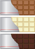 Chocolate bar collection. With milk, dark, and white chocolates with the wrapping torn out Royalty Free Stock Image