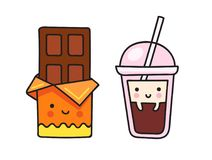 Chocolate bar and a cup of coffee. stock illustration