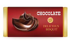 Chocolate bar Design Template  On White Background. Liquid  Chocolate and text on the Packaging. Vector Illustratio Royalty Free Stock Images