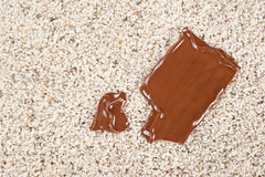 Chocolate bar dropped on carpet royalty free stock photography