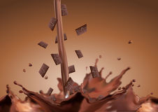 Chocolate bar fall in chocolate Stock Photos
