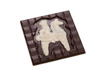 Chocolate bar with figurine of knight on horseback Royalty Free Stock Image