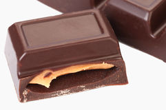 Chocolate bar filled with. On white background Stock Image