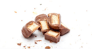 Chocolate bar with filled with crispy sweet waffer Royalty Free Stock Photography