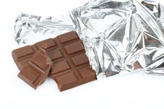 Chocolate bar in foil Stock Photos
