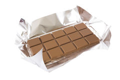 Chocolate bar with foil Stock Photo