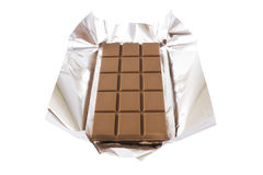 Chocolate bar with foil Stock Images
