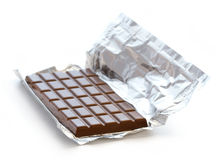Chocolate bar in foil Royalty Free Stock Image