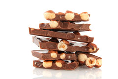 Chocolate bar with hazelnuts Stock Images