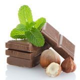 Chocolate Bar with hazelnuts Royalty Free Stock Images