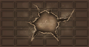 Chocolate bar with a hole chocolate background Stock Photography