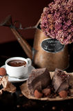 Chocolate bar with hot chocolate drink. Piece of chocolate bar with hot chocolate drink Stock Photography
