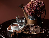 Chocolate bar with hot chocolate drink Stock Images
