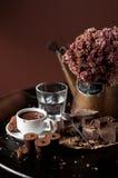 Chocolate bar with hot chocolate drink. Piece of chocolate bar with hot chocolate drink Stock Photos