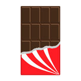 Chocolate bar icon. Opened red wrapping paper foil. Tasty sweet food. Dark dessert. Rectangle shape Vertical piece. Modern simple Royalty Free Stock Photos