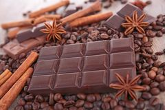Chocolate bar and ingredient Stock Images