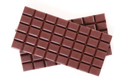 Chocolate bar. Isolated on white Stock Photos