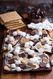 Chocolate bar with marshmallows Royalty Free Stock Photos