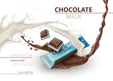 Chocolate bar with milk realistic Mock up Vector label design. Splash and chocolate drops background Stock Photos
