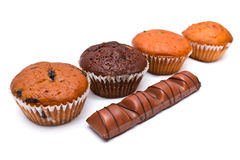 Chocolate Bar and Muffin Royalty Free Stock Photo