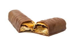 Chocolate bar (nougat topped with caramel enrobed in milk chocol Stock Photos