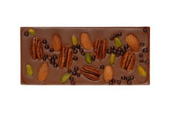 Chocolate bar with nuts royalty free stock photo