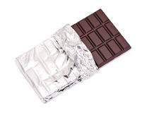 Chocolate bar with open cover stock photos