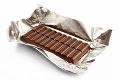 Chocolate bar in the opened packing isolated Royalty Free Stock Image