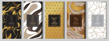 Chocolate bar packaging mock up set. elements,labels,icon,frames, for design of luxury products.Made with golden foil.Isolated on. Flower and brown background vector illustration