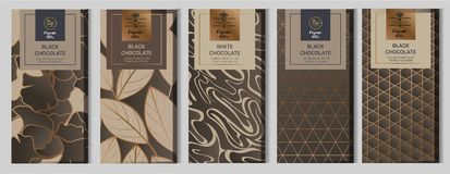 Chocolate bar packaging mock up set. elements,labels,icon,frames, for design of luxury products.Made with golden foil.Isolated on. Geometric and brown vector illustration