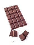 Chocolate bar. A piece of chocolate with chocolate bar isolated on white background Royalty Free Stock Images