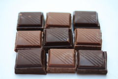 Chocolate bar pieces Stock Images