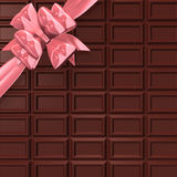 Chocolate Bar With Pink Ribbon For Background Royalty Free Stock Image