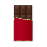 Chocolate Bar In Red Wrap With Golden Foil. Vector Royalty Free Stock Photography