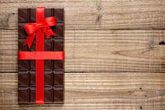 Chocolate bar with ribbon Royalty Free Stock Photo
