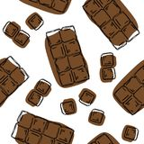 Chocolate bar seamless pattern. Background for chocolate and cocoa packaging - labels and background in trendy linear style. Choco. Late bar pattern stock illustration