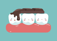 Chocolate bar on top of teeth , tooth and teeth of dental concept Stock Image