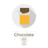 Chocolate bar vector illustration. In flat design style with long shadow. Round shape, isolated on white background. Thin line icon included stock illustration
