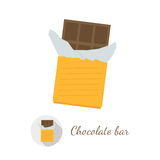 Chocolate bar vector illustration. In flat design style. Round shaped logo with long shadow included, isolated on white background royalty free illustration